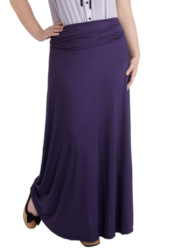 Day at Sea Skirt in Purple - Plus Size - Purple, Solid, Casual, Maxi, Long, Jersey, Variation, Beach/Resort, Travel