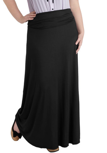 Day at Sea Skirt in Black - Plus Size - Jersey, Black, Solid, Casual, Maxi, Variation, Beach/Resort, Travel