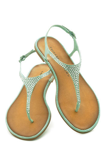 For Old Times Square Sake Sandal - Mint, Solid, Rhinestones, Slingback, Faux Leather, Pastel, Summer