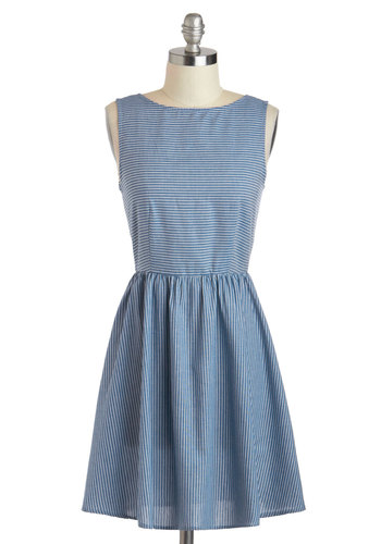 Saturday Stories Dress - Short, Blue, White, Stripes, Casual, A-line, Sleeveless, Boat, Nautical, Spring