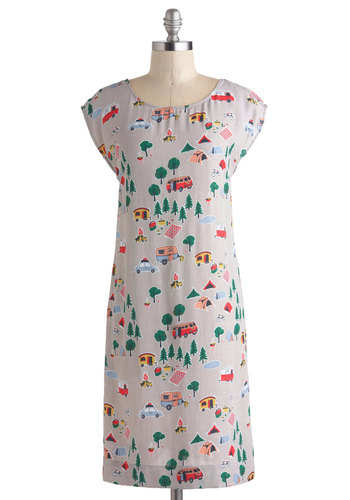 Camp Get Enough Dress by Nice Things - International Designer, Mid-length, Grey, Multi, Novelty Print, Casual, Shift, Cap Sleeves, Scoop, Summer