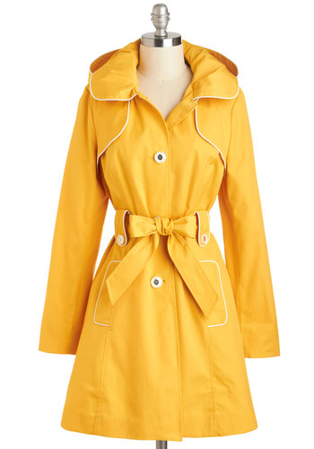Brightening Days Coat - 2, Yellow, Solid, Buttons, Belted, Hoodie, Long Sleeve, Spring, Variation, Long