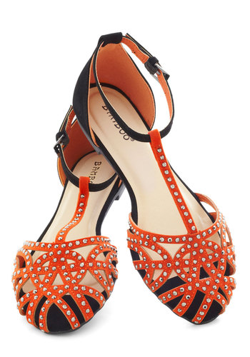 Concerted Effort Sandal - Orange, Silver, Flat, Black, Studs, Casual, Summer