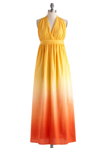Cabana Nights Dress - Cotton, Long, Yellow, Orange, Ombre, Casual, Empire, Maxi, Halter, V Neck, Summer