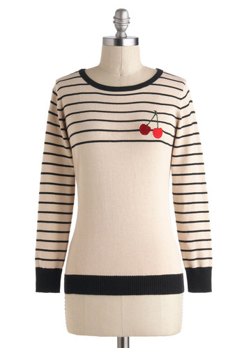 Put a Bing on it Sweater by Sugarhill Boutique - International Designer, Mid-length, Cream, Red, Black, Stripes, Buttons, Embroidery, Casual, Long Sleeve, Rockabilly, Fruits, Cotton, Crew, Winter, Travel