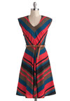Know Every Angle Dress in Raspberry by Louche - International Designer, Long, Stripes, Belted, Casual, A-line, Sleeveless, V Neck, Multi, Chevron
