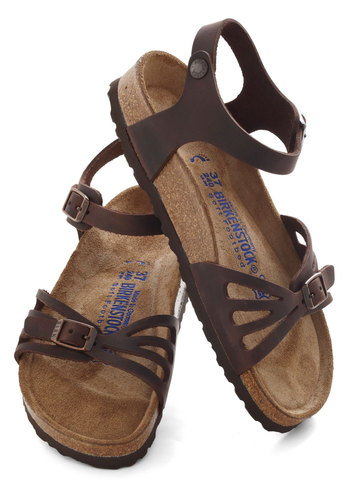 Lake Chelan Sandal by Birkenstock - Leather, Brown, Solid, Cutout, Folk Art, Spring, Flat, Summer, Travel