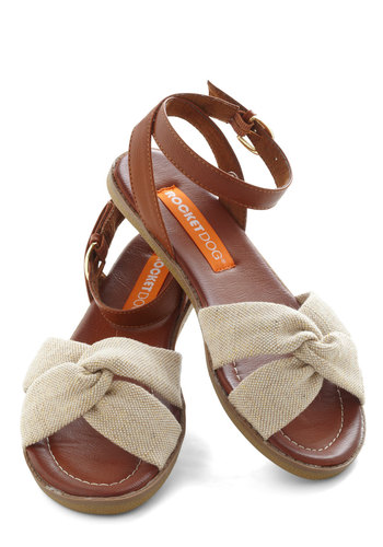 Savor Today Sandal in Shimmer - Cream, Brown, Solid, Strappy, Flat, Casual, Summer