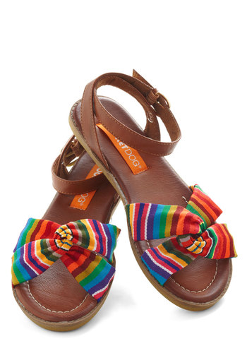 Savor Today Sandal in Stripes - Multi, Stripes, Strappy, Brown, Flat, Summer