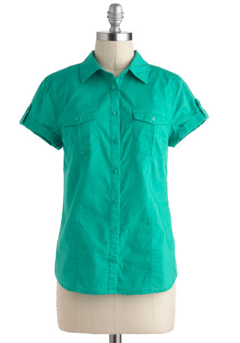 Backyard Safari Top - Green, Solid, Buttons, Short Sleeves, Cotton, Mid-length, Pockets, Casual, Collared