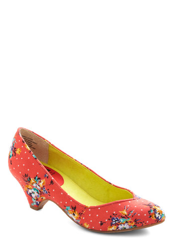 Stand in Awe Heel in Floral by BC Shoes - Multi, Polka Dots, Floral, Mid, Coral, Work, Spring
