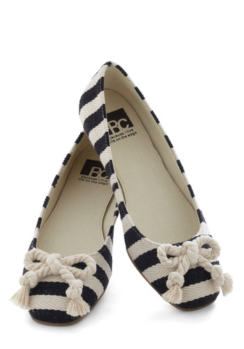 Pier and Dear Flats by BC Shoes - Stripes, Bows, Flat, Nautical, Woven, Black, White, Casual, Travel