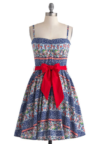 Lend Me a Handkerchief Dress - Cotton, Mid-length, Blue, Floral, Belted, Daytime Party, Fit & Flare, Spaghetti Straps, Sweetheart, Multi