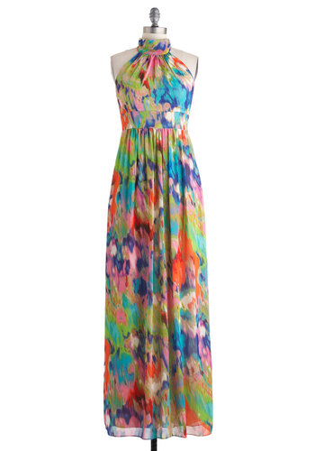 Quite an Impressionist Dress - Long, Multi, Print, Formal, Prom, Empire, Maxi, Halter
