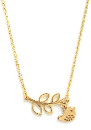 The Girly Bird Necklace in Gold Leaves - Gold, Print with Animals, Cutout