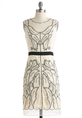 I'm a Be-Leaf-er Dress by Ryu - Sheer, Mid-length, Cream, Black, Print, Embroidery, Scallops, Daytime Party, Shift, Sleeveless, Boat, Wedding, Bride, 20s
