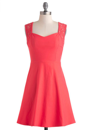 Give It Coral You Got Dress - Sheer, Short, Coral, Solid, Cutout, Lace, Daytime Party, A-line, Sleeveless, Party, Sweetheart, Prom, Spring