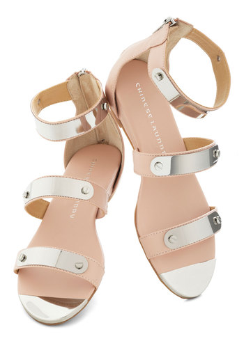 In Shining Amour Sandals - Silver, Solid, Studs, Faux Leather, Wedge, Pink, Spring, Summer