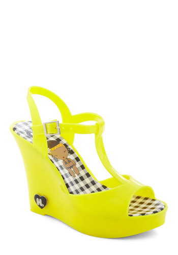 Show Starting Heel in Yellow - Solid, Wedge, Peep Toe, Slingback, Yellow, High, 90s, Summer