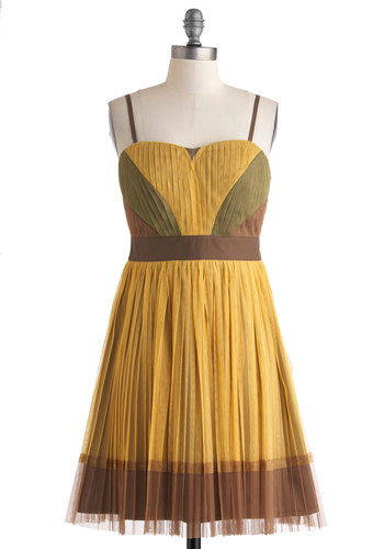 Mustard the Courage Dress by Ryu - Mid-length, Yellow, Green, Brown, Pleats, Party, A-line, Spaghetti Straps, Sweetheart