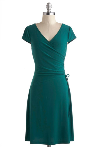 Teal It With a Kiss Dress - Mid-length, Green, Solid, Ruching, A-line, Wrap, V Neck, Work, Minimal, Top Rated