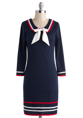 Brighton My Day Dress - Nautical, Blue, Red, White, Bows, Trim, Casual, Sheath / Shift, 3/4 Sleeve, Scoop, Vintage Inspired, 60s, Mod, Mid-length