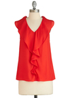 Samba in the Way She Moves Top - Sheer, Mid-length, Red, Solid, Ruffles, Party, Sleeveless, Exclusives, Red, Sleeveless