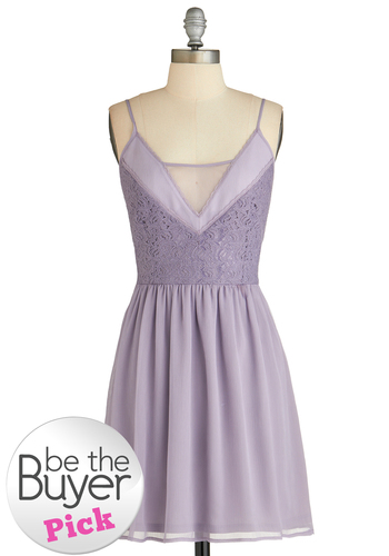 Venturing in Violet Dress - Purple, Solid, Lace, Daytime Party, A-line, Spaghetti Straps, Wedding, Fairytale