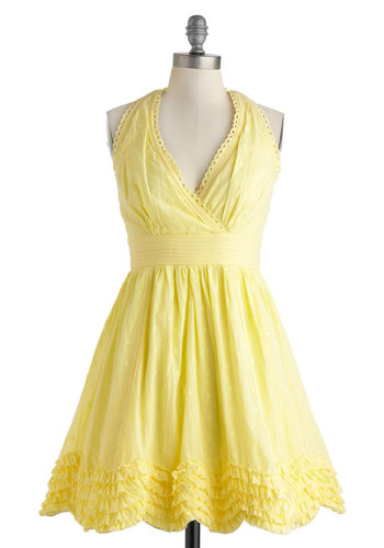 Meadow Buttercup Dress - Yellow, Solid, Eyelet, Ruffles, Wedding, Vintage Inspired, Halter, Spring, Fit & Flare, Cotton, Mid-length, Scallops, Daytime Party, V Neck, 50s, Summer, Pastel, Pinup, Bridesmaid