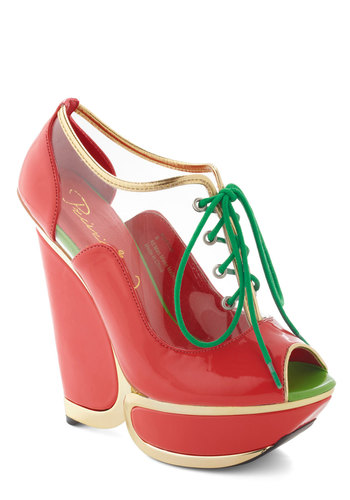 Beach Town Bash Wedge - Red, Green, Solid, Trim, Statement, High, Platform, Wedge, Lace Up, Peep Toe