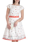 Fair Thee Swell Dress - International Designer, Long, White, Multi, Novelty Print, Belted, Daytime Party, Fit & Flare, Cap Sleeves, Boat, Vintage Inspired, Luxe
