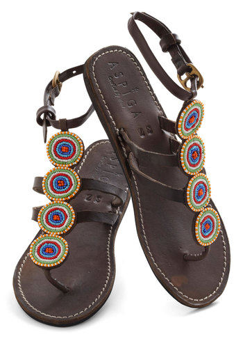 Beading of My Heart Sandal - Leather, Brown, Multi, Solid, Beads, Flat, Boho, Summer