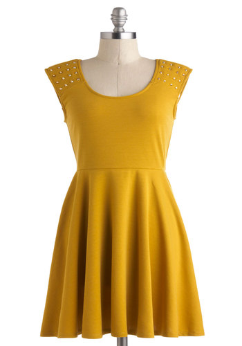 Dijon Vacation Dress - Mid-length, Yellow, Solid, Cutout, Studs, Casual, A-line, Sleeveless, Scoop, Summer