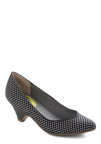 Stand in Awe Heel in Dots by BC Footwear - Black, White, Polka Dots, Mid, Work, Variation