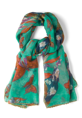 A Flight to Remember Scarf - Green, Multi, Print with Animals, Trim, Sheer