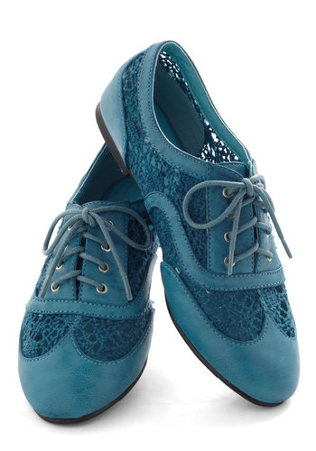 Carnival Confection Flat in Blue - Blue, Solid, Crochet, Menswear Inspired, Flat, Lace Up, Variation
