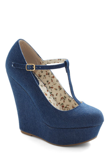 By All Jeans Wedge - Blue, High, Denim, Platform, Wedge, Daytime Party, Good, T-Strap