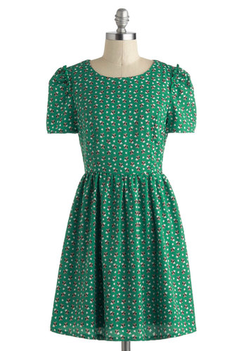 In the Wing of Things Dress - Green, Multi, Print with Animals, Casual, A-line, Short Sleeves, Mid-length, Ruffles, Scoop, Owls, Critters, Bird, Woodland Creature