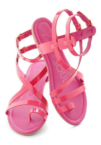 Fashionable Forum Sandal in Rose - Pink, Solid, Flat, Summer, Casual, Beach/Resort, Faux Leather, Strappy