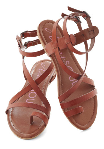 Fashionable Forum Sandal in Earth - Brown, Red, Solid, Flat, Faux Leather, Casual, Beach/Resort, Boho, Summer, Strappy