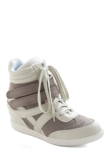 Hi-Top of the World Wedge in Grey - Urban, Wedge, Lace Up, Mid, Grey, White, Casual, Vintage Inspired, 80s, Winter