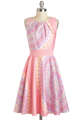 Backyard Reception Dress - Pink, Paisley, Pinup, A-line, Sleeveless, Cotton, Mid-length, Yellow, Purple, White, Pockets, Daytime Party, Boat, Pleats, Prom