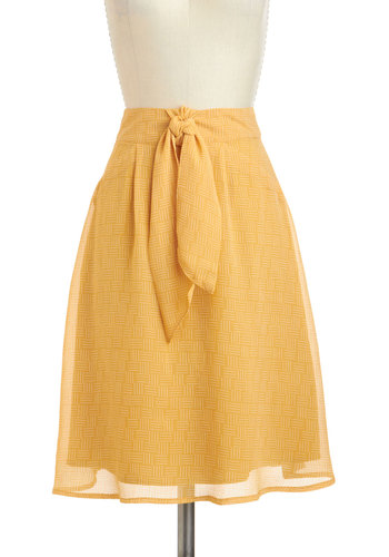 Weave Your Mark Skirt - Mid-length, Yellow, White, Print, Work, A-line