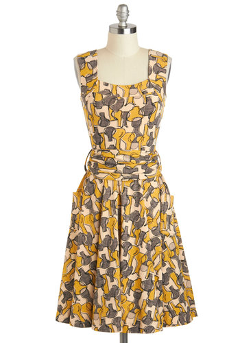 Guest of Honor Dress in Vases by Effie's Heart - Cotton, Mid-length, Yellow, Grey, Novelty Print, Pockets, Belted, Casual, A-line, Sleeveless, Variation, Top Rated