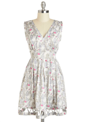 Do a Little Prance Dress - Grey, Print with Animals, Casual, A-line, Sleeveless, V Neck, International Designer, Short, Pink, Cutout, Summer