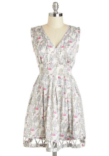 Do a Little Prance Dress - Grey, Print with Animals, Casual, A-line, Sleeveless, V Neck, International Designer, Short, Pink, Cutout, Summer
