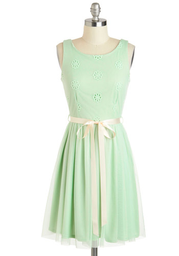 Filled with Merri-mint Dress - Pastel, Mid-length, Mint, Tan / Cream, Solid, Eyelet, Belted, Daytime Party, A-line, Sleeveless, Boat, Graduation, Summer