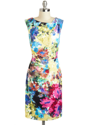 Creative Approach Dress - Long, Multi, Ruching, Daytime Party, Shift, Sleeveless, Boat, Floral, Wedding, Graduation