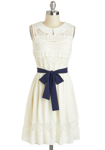 You Look Fete-ching Dress - Mid-length, Cream, Blue, Solid, Lace, Peter Pan Collar, Belted, Casual, A-line, Sleeveless, Collared, Daytime Party, Graduation, Vintage Inspired, 30s, Summer, Lace