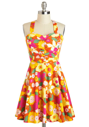 Plant Hardly Wait Dress - Cotton, Short, Multi, Orange, Yellow, Green, Pink, White, Floral, Ruching, Casual, A-line, Sweetheart, Daytime Party, Vintage Inspired, 60s, 70s, Pinup, Summer